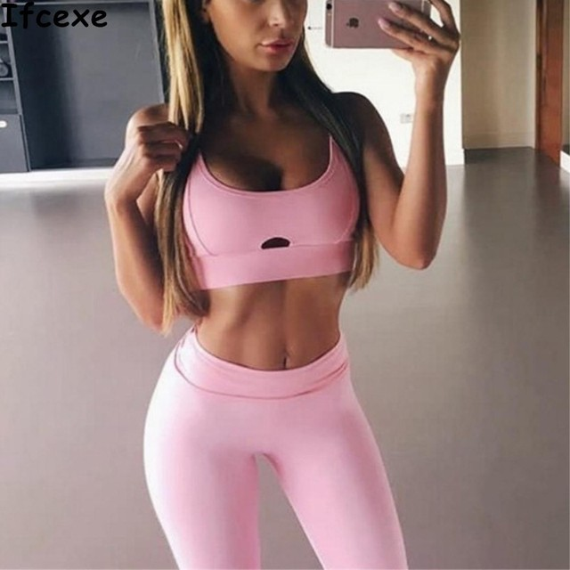 72fa1f45eb1fc Women Yoga Sets Bra+Pants Fitness Workout Clothing And Women s Gym Sports  Running Girls Slim Leggings+Tops Sport Suit For Female