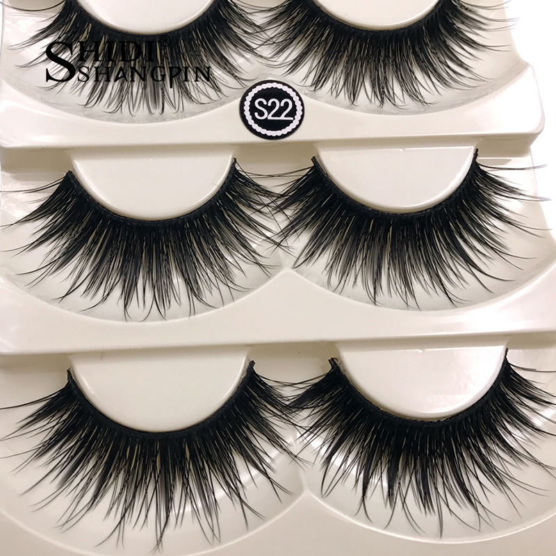 Top 5 Pairs Party Stage Eye Make Up for False Eyelashes Thick Fake Black Handmade Soft and Long Eye Extension lashes Beauty Kit