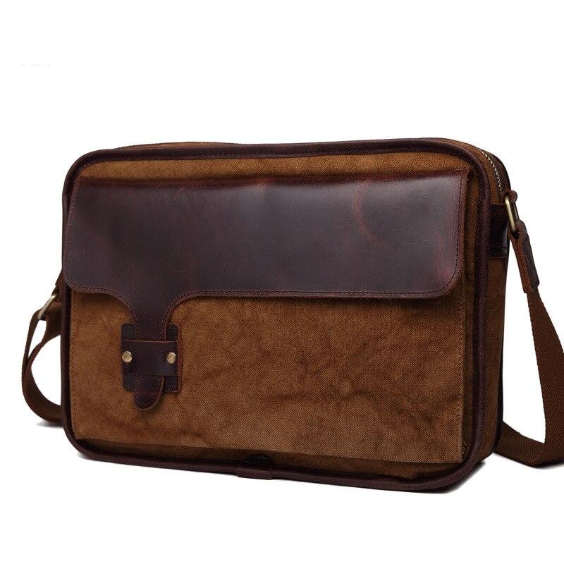 Wysokiej jakości męska skóra bydlęca prawdziwa skóra bydlęca bawełna torba na zakupy ze skóry wołowej dorywczo klapa podróży Messenger torba na ramię Crossbody w Torby z długim paskiem od Bagaże i torby na  Grupa 1