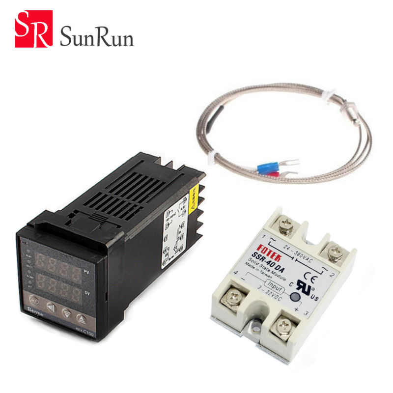 Digital PID Temperature Controller Thermostat REX-C100 + Max.40A SSR Relay + K Thermocouple Probe High Quality