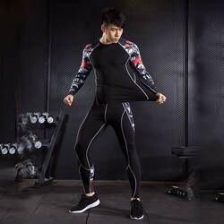 Мужская одежда сжатия костюм 2 шт. спортивный костюм мужские Длинные рукава футболка Колготки Рашгард MMA мышцы рубашка crossfit леггинсы