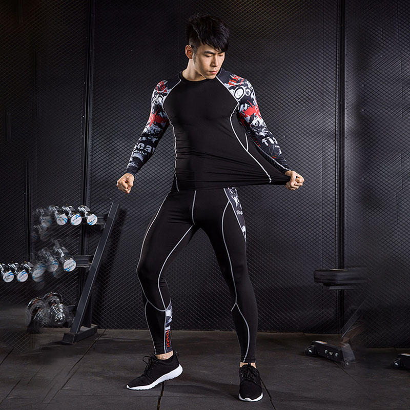 Men's Clothing Compression Suit  2 Piece Tracksuit Men Long Sleeve T Shirt Tights Rash Guard MMA Muscle Shirt Crossfit Leggings