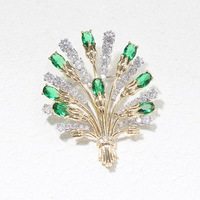 New retro exquisite stone exaggerated bouquet brooch temperament wild pin men and women brooch with the same paragraph for women