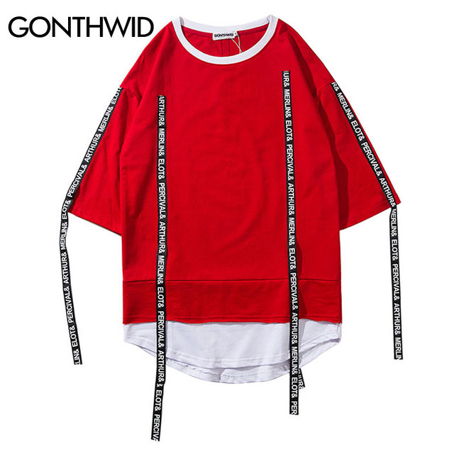 Gonthwid color bloque patchwork cinta curvada hem corto manga Camisas 2018  hip hop casual camiseta extendida a3a726aa1dd