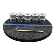 EWS-3D аксессуары для принтера 5 шт. 20 зубьев GT2 зубчатый шкив синхронный диаметр колеса 5 мм и 5 м GT2-6mm GT2 зубчатый ремень