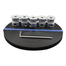 EWS-3D Printer Accessories 5pcs 20 teeth GT2 Timing Pulley Synchronous Wheel Bore 5mm and 5M GT2-6mm GT2 Timing Belt
