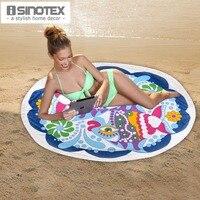 1PCS/Lot 100% Cotton Round Beach Towel 150cm Round Bath Towel Tassel Decor Geometric Printed Bath Towel