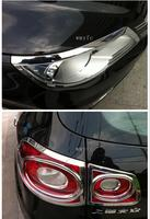 폭스 바겐 tiguan에 적합 2010 2011 2012 abs 크롬 전면 후면 헤드 라이트 테일 라이트 램프 커버 트림 자동차 액세서리