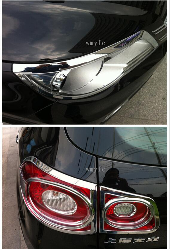 Fit for vw Volkswagen Tiguan 2010 2011 2012 ABS Chrome Front Rear Headlight Tail Light Lamp Cover Trim car Accessories fit for volkswagen vw tiguan rear trunk scuff plate stainless steel 2010 2011 2012 2013 tiguan car styling auto accessories