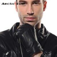 2019 nuevos guantes de cuero genuino para hombre, guantes de piel de Deerskin de lujo, conducción de muñeca de alta calidad, forro de Cachemira de invierno EM012WR