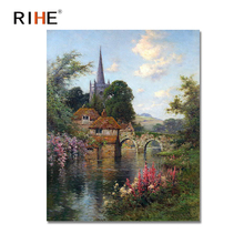 RIHE Castle Diy Painting By Numbers Abstract Bridge River Oil Painting On Canvas Cuadros Decoracion Acrylic Wall Picture 40X50CM rihe river house diy painting by numbers abstract garden oil painting on canvas cuadros decoracion acrylic wall picture for room