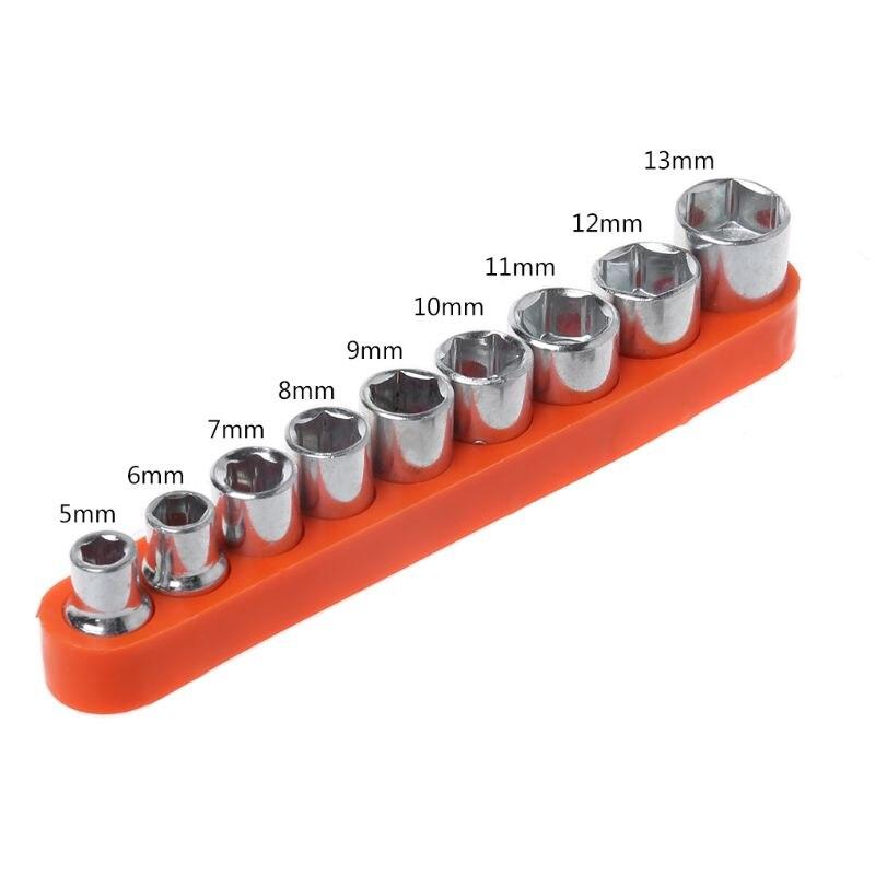 9 Pcs/Set Wrench Hexagon Head DIY Fix Repair Hand Tool 5-13mm Socket Adapter Set Home Auto Car Bicycle