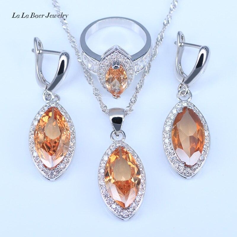 Wedding-Jewelry-Sets Neckalce Morganite Earrings Rings Pendant Zircon Silver-Color Women
