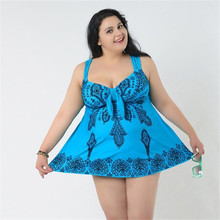 6064a03dd6d Super Plus Size 4XL-10XL One Piece Swimsuit Skirted Bathing Suit Printed  Women Big Breast
