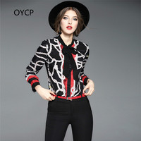 OYCP Autumn 2017 New High Quality Women S Clothing Bow Tie All Match Silk Blouse Printing