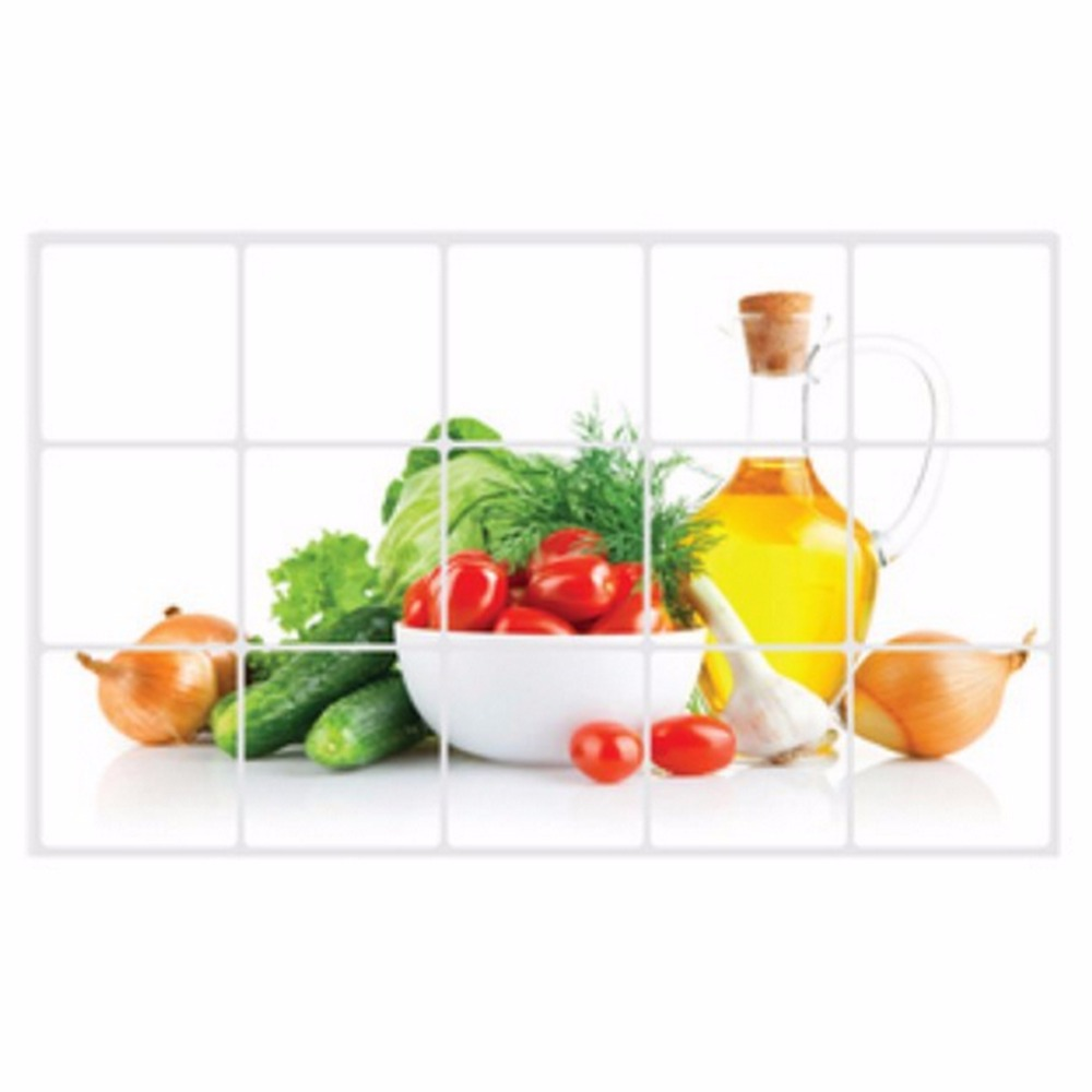Kitchen Tiles Fruits Vegetables: Kitchen Wall Sticker Ceramic Tile High Temperature