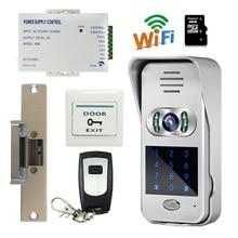 Free Shipping New Code / Keypad Wireless Wifi 720P Doorbell Outdoor Video Door Phone for Android IOS Strike Door lock In Stock