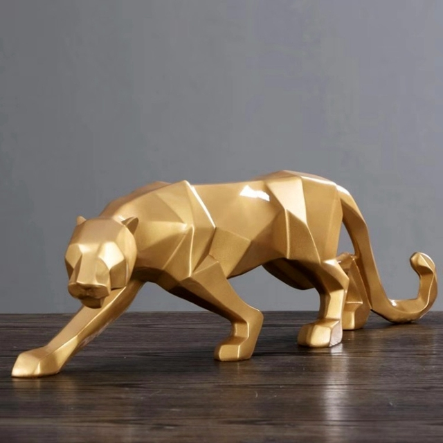 Leopard Resin Model Crafts Ornaments Office Bar Black Panther Sculpture Geometric Statue Animal Origami Abstract Decoration Gift