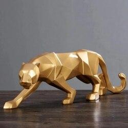 Modelo de resina de leopardo artesanato enfeites escritório bar pantera negra escultura estátua geométrica origami animal decoração abstrata presente