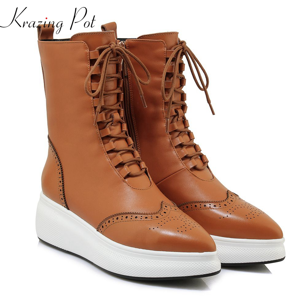 Krazing Pot full grain leather carving decoration brand boots motorcycle boots superstar Oxfords high quality mid-calf boots L27 недорго, оригинальная цена