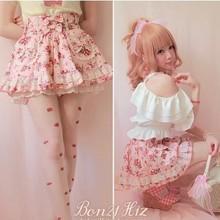 Милая юбка принцессы в стиле Лолиты; BOBON 21; Эксклюзивные оригинальные милые летние хлопковые юбки с кружевом и бантом в виде клубники; брюки; юбка; B1015