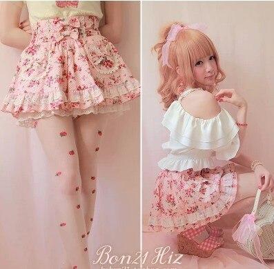 Princess sweet lolita skirt BOBON 21 exclusive original lovley strawberry lace bow summer cotton skirts under pants skirt B1015