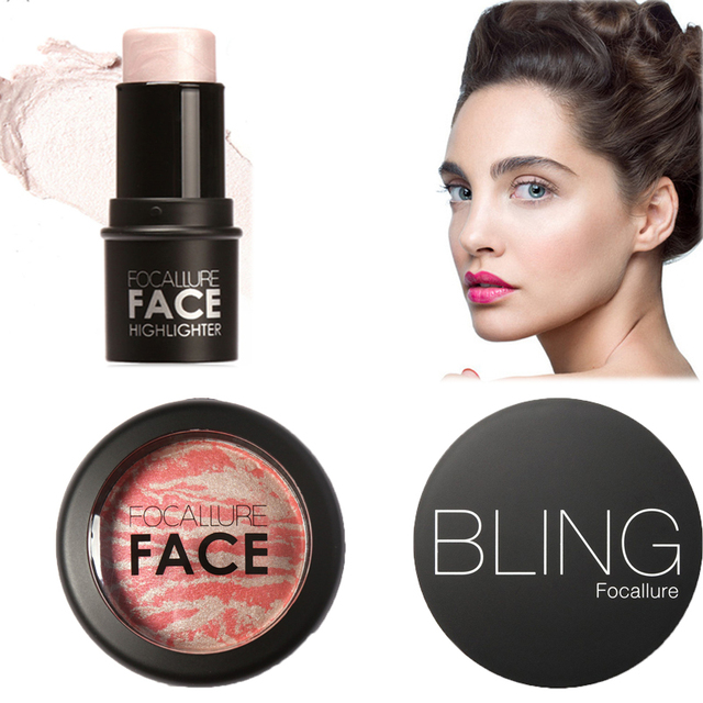 Professional kit all for baking Bronzer Highlighter Bling stick All Over Shimmer Powder Baked Blush Bronzer Blusher by Focallure