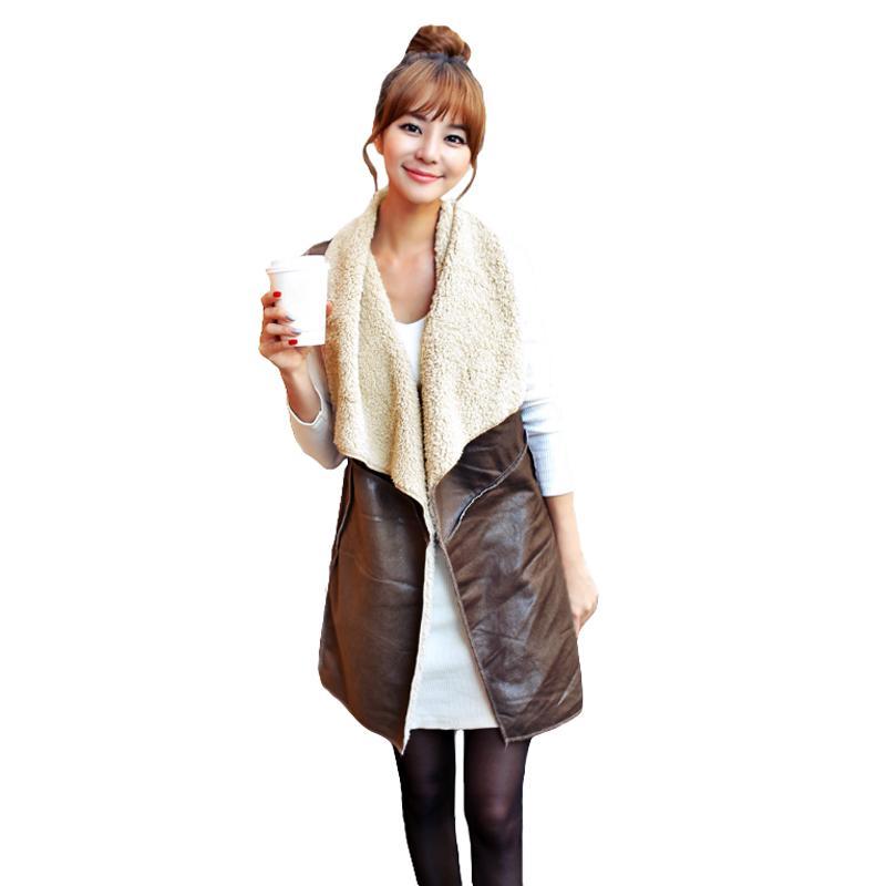 Winter Fashion Fleece Long Vest female Waistcoat Women Vest Coat Suede Faux Fur Vest Lapel Sleeveless Jacket Outerwear Coffee Одежда