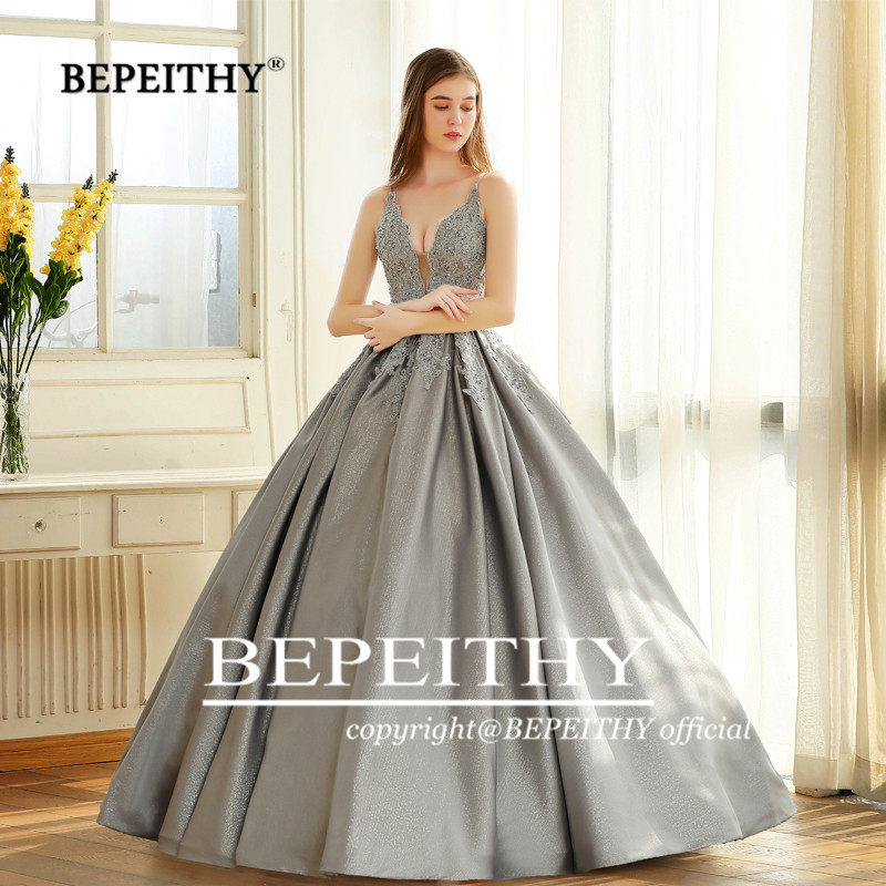 Image 5 - BEPEITHY Robe De Soiree Ball Gown Evening Dress Spaghetti Straps 2019 Lace Bodice Glitter Fabric Abiye Prom Party Gown-in Evening Dresses from Weddings & Events
