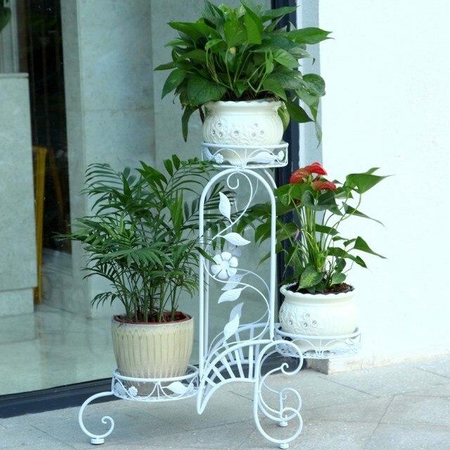 3 pots european balcony and indoor flower pot holder garden flower stand iron flower pergolas white