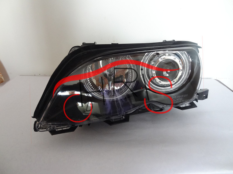 High Quality  Sedan Dual Halo Projector Black Headlights Lamps New For BMW E46 3-Series 99-01  Freeshipping