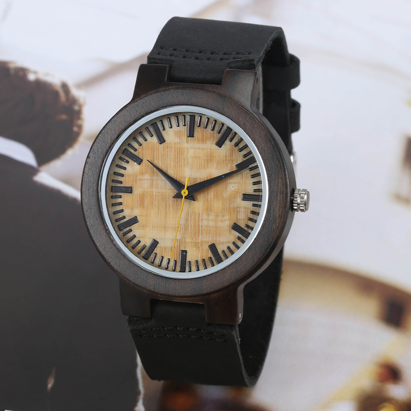 GORBEN Brand Natural Bamboo Dial Wooden Watch for Mens Simple Design Luxury Real Leather Band Quartz Wooden Wrist Watches Gifts
