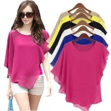 16 цветов плюс размер S-5XL 6XL женские шифоновые Блузы шифоновые рубашки blusas, топы с рукавами летучая мышь, Рубашки женские Асимметричные рубашки