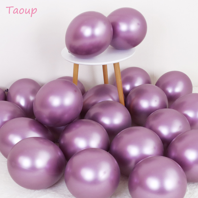 Taoup 5pcs 12inch Metal Balloons Happy Birthday Balloons Air Figures Pearl Balls Wedding Party Favors Round Ballons Accessories in Ballons Accessories from Home Garden