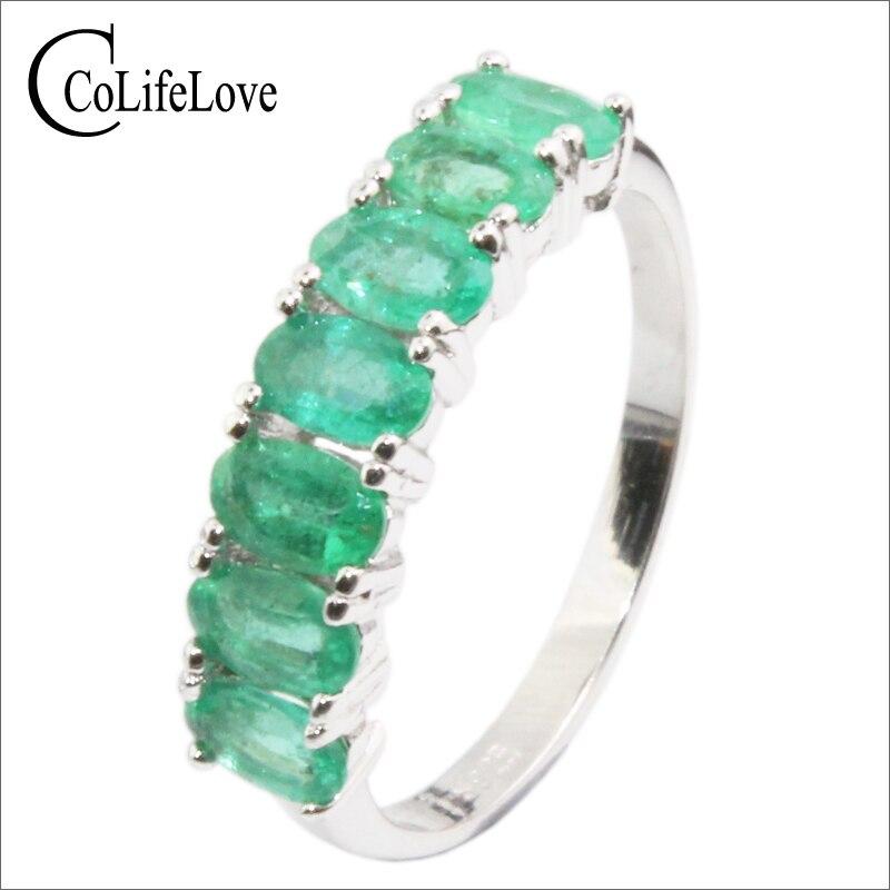 CoLifeLove 100% natural emerald silver ring 7 pcs 3 mm * 5 mm SI grade emerald ring sterling silver emerald ring