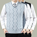 Hot Sale Knitted Vest Autumn Mens Pullove Knitted Sweater Men Business Grey Wool Sweater vests Big Size 3XL