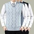 Venta caliente Chaleco de Punto Para Hombre Otoño Pullove Suéter de Lana de Punto Suéter de Los Hombres de Negocios Gris chalecos Tamaño Grande 3XL