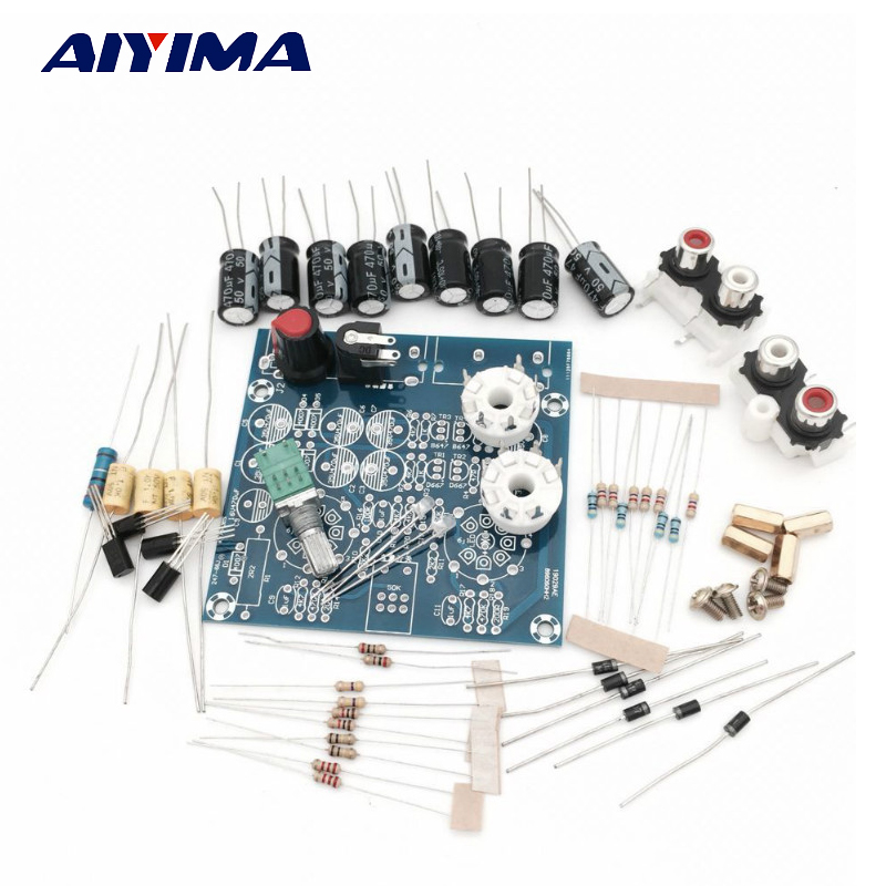 Aiyima Tube Amplifiers Audio board Amplificador Pre-Amp Audio Mixer 6J1 Valve Preamp Bile Buffer Diy Kits steel strap number quartz date watch