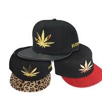 Women's Men's Leopard Leaf Hiphop Snapback Casual Flat Brim Baseball Cap Hat