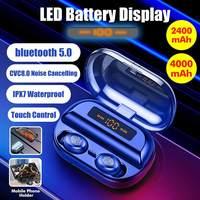 5.0 bluetooth 8D Stereo Earphone Wireless Earphones IPX7 Waterproof Earphones 4000mAh Battery LED Display Smart Power Bank