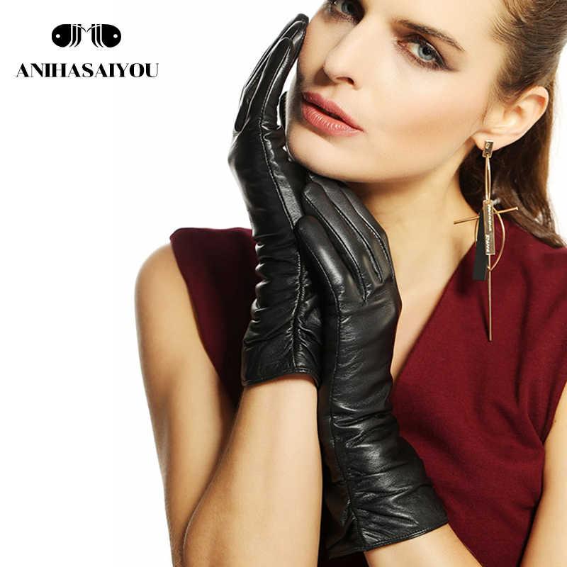 シンプルなファッションの女性の手袋、本革の女性の革手袋、赤、黒、ベージュ、グレー、黒、 25 センチメートル女性の冬の手袋-2081