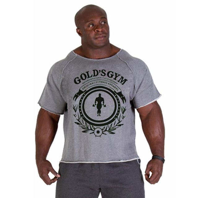 Gyms Fitness Men s T Shirts Tops Bodybuilding Workout Clothes Golds  Sportwear Cotton Casual T Shirt Men Muscle 2017 New ca14fa633daa