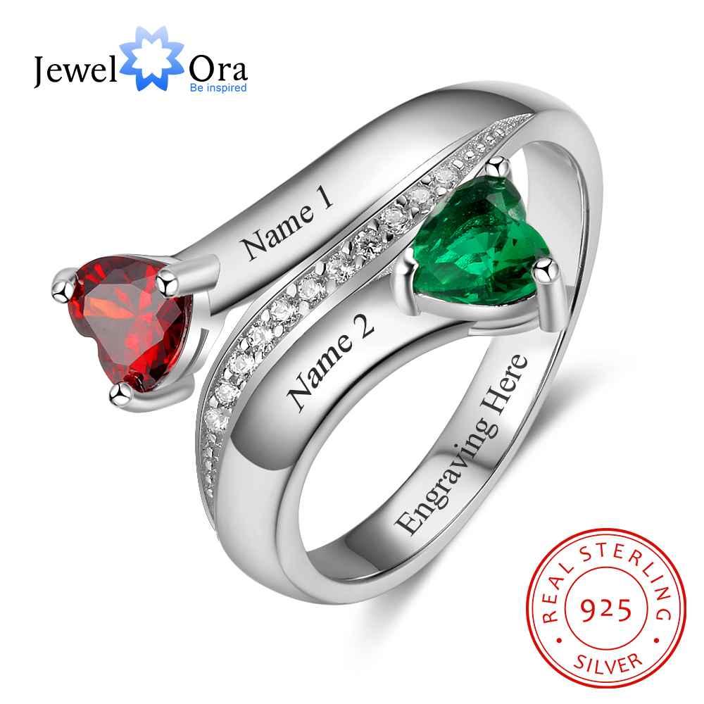 Персонализированные Сердце Камень Пользовательские Выгравировать 2 имена Promise Ring любовь 925 серебро Подарок на годовщину (JewelOra RI103269)
