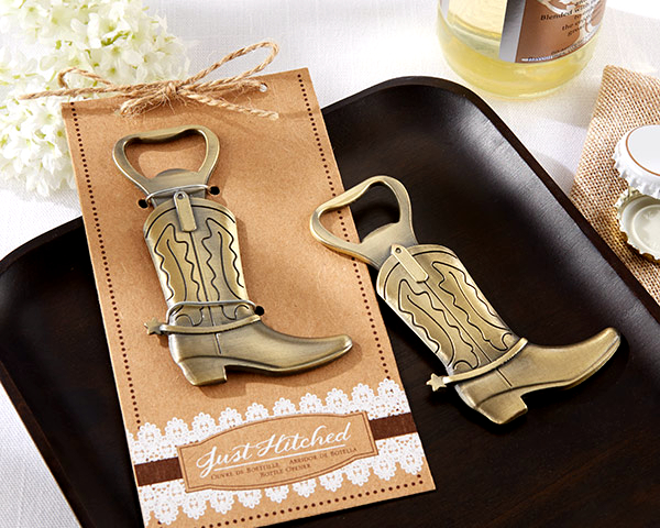 Fast Delivery! Wedding Favor Just Hitched Cowboy Boot Bottle Opener Wholesale