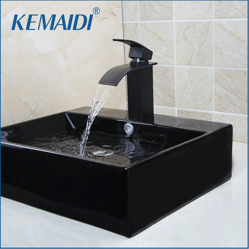 KEMAIDI Black Only The Ceramic Washbasin Vessel Lavatory Basin Bathroom Sink Bath Combine Brass Vessel Vanity Tap Mixer Faucet