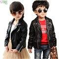 2015 moda niños bebés niñas faux leather jackets coat niños moda tops outwear niños otoño invierno ropa de bebé ropa infantil