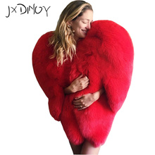 Hot Winter Top Stylish 3D Red Love Heart shaped Cover Faux Fur Fox Fur Thick font