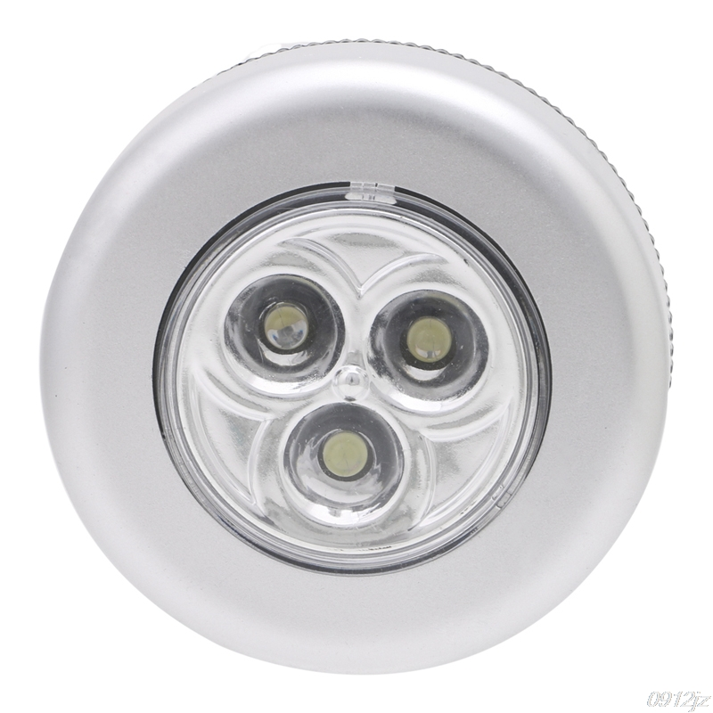 1Pc 3 LED Car Home Wall Camping Touch Light Push Lamp Battery Powered Night Light New New Drop Ship