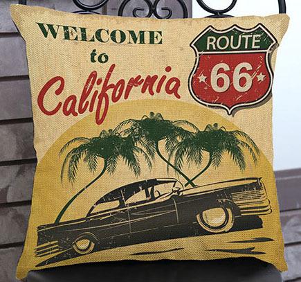 Housse de coussin vintage – Route 66