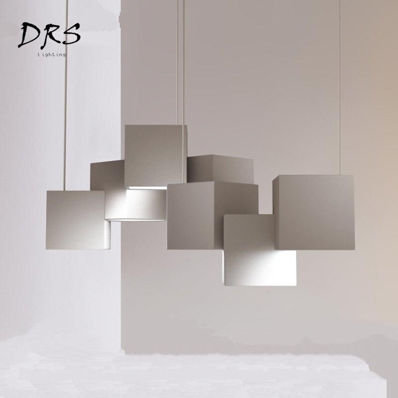 Minimaliste magique Cube Lustre salon fer Lustre Pendente lampe nordique moderne chambre étude Bar éclairage lampara
